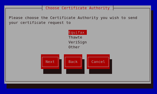 Choose Certificate Authority (CA)