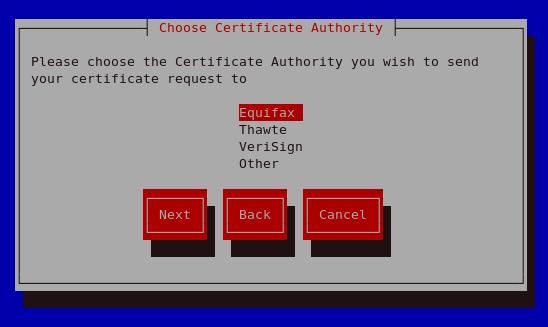 Choose Certificate Authority (CA)