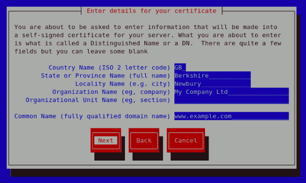 Generating a self signed certificate for your server