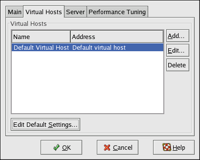 Virtual Hosts Tab