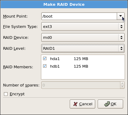 Making a RAID Device and Assigning a Mount Point