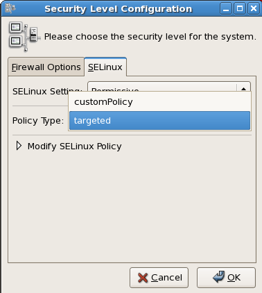 Using the Security Level Configuration dialog box to load a custom policy.