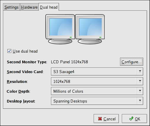 Dual Head Display Settings
