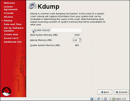The kdump configuration screen