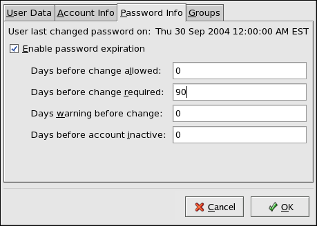 Specifying password aging options