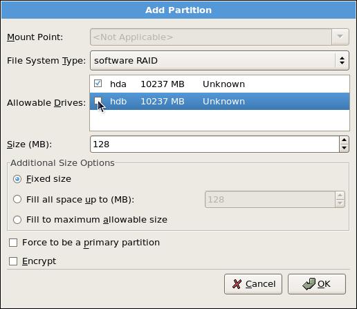 Adding a RAID Partition