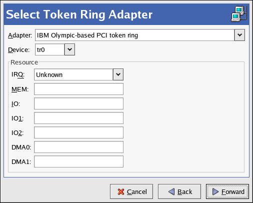 Token Ring Settings