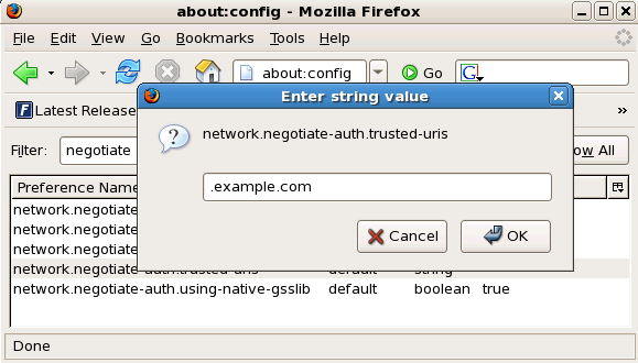 Configuring Firefox for SSO with Kerberos