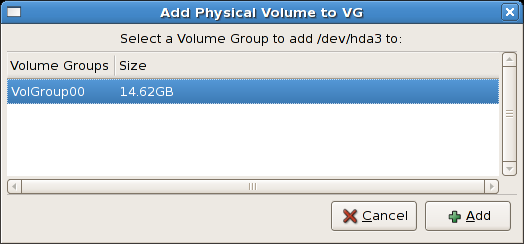 Add physical volume to volume group