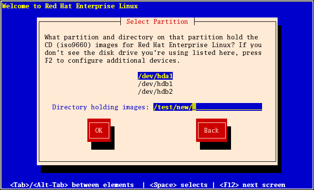 Selecting Partition Dialog for Hard Drive Installation