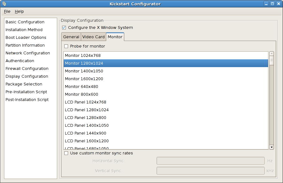 X Configuration - Monitor