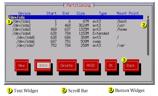 Installation Program Widgets as seen in Disk Druid