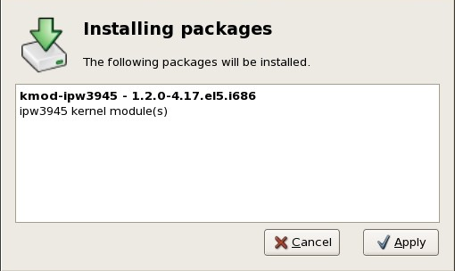 The installing packages box