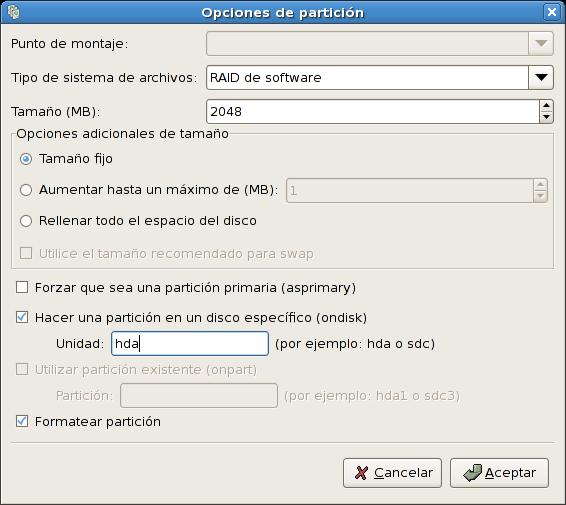 Creación de una partición de software RAID