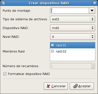 Creación del dispositivo de software RAID