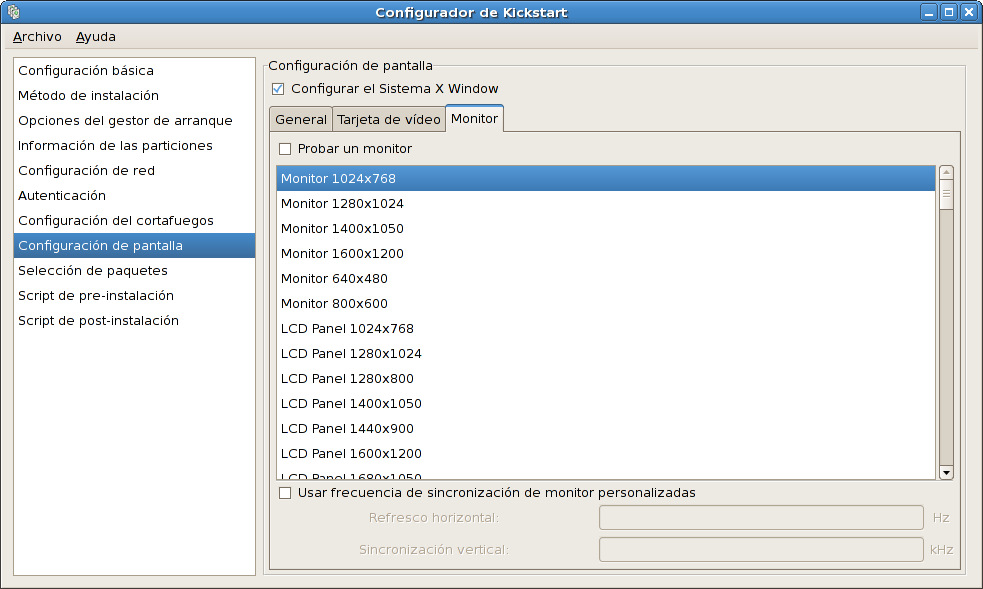 Configuración de X - Monitor