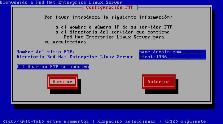 Pantalla de configuración de FTP