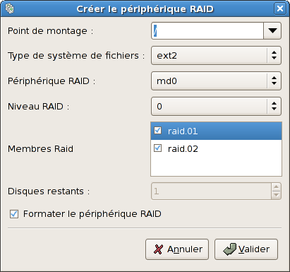 Création d'un périphérique RAID logiciel