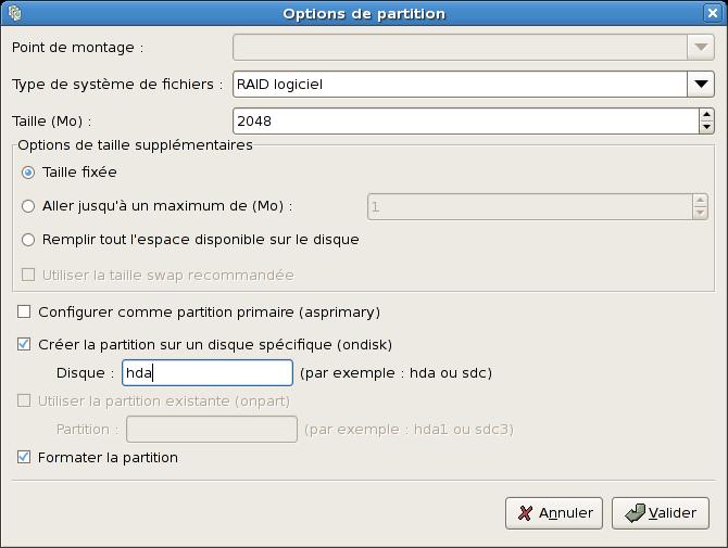 Création d'une partition RAID logicielle