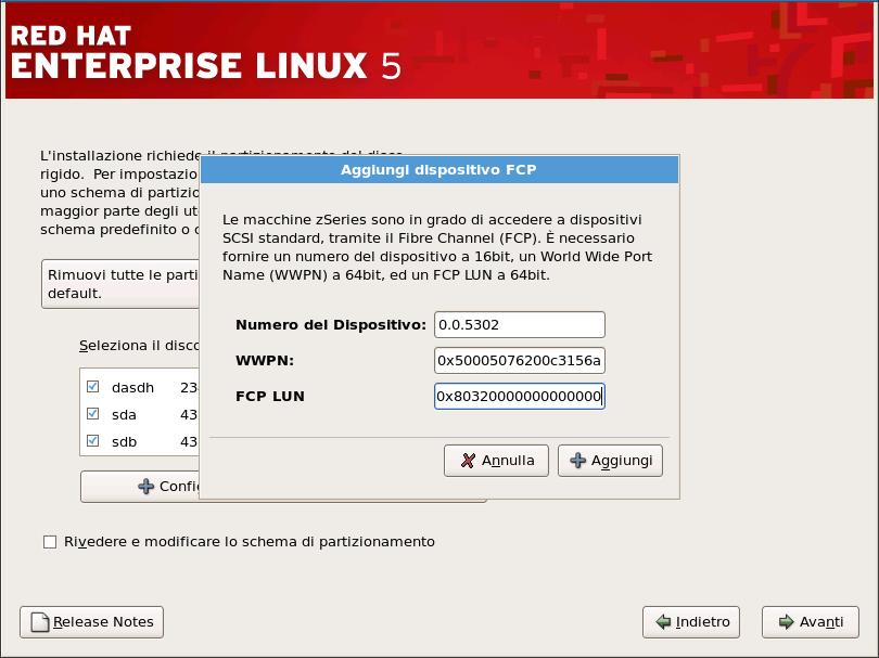 Configura dispositivo FCP