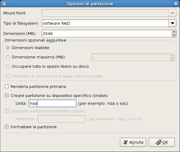 Creazione di una partizione RAID software