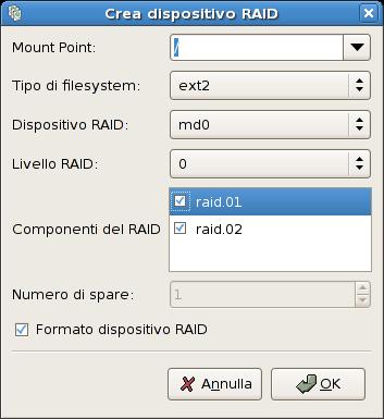 Creazione di un dispositivo RAID software