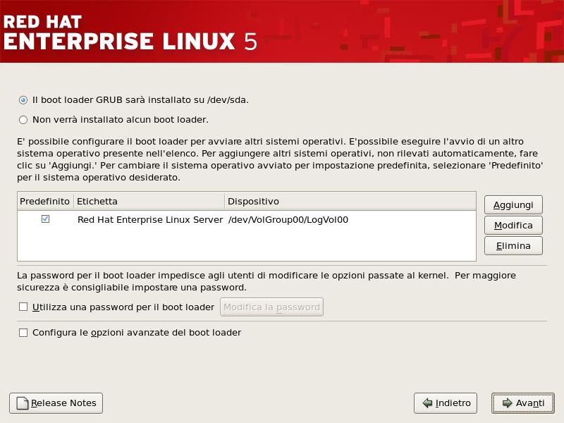 Configurazione del boot loader