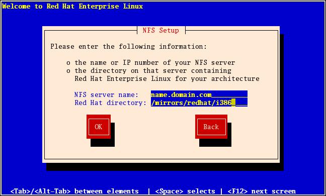 NFS 설정 대화 상자
