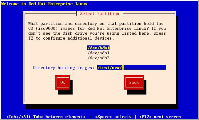 硬碟安裝中的選擇分割區對話視窗
