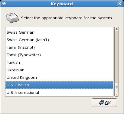 Keyboard selection