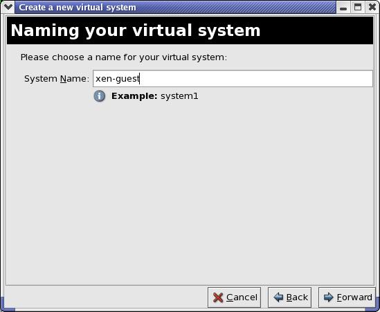 Benennung des virtuellen Systems