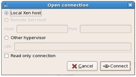 Virtual Machine Manager Connection window