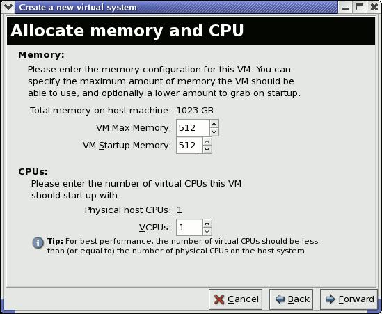 Speicher und CPU zuweisen