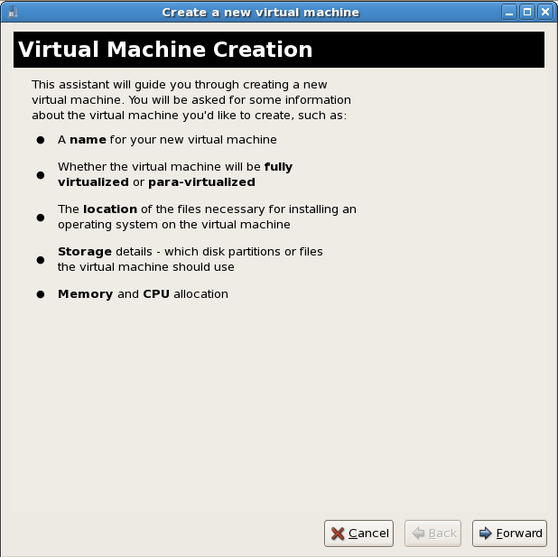 The first screen of the virtual machine creation wizard, outlining the wizard's upcoming steps for creating a new virtual machine.