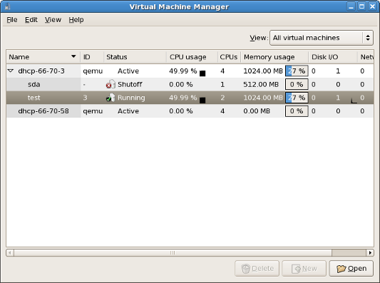 Virtual Machine Manager main window