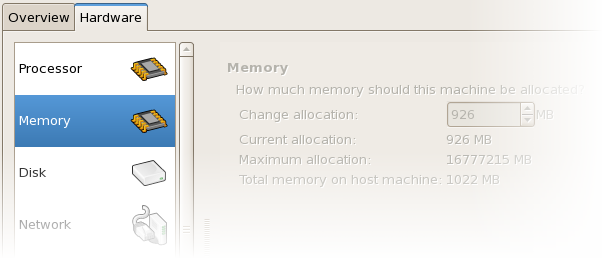 Displaying memory allocation