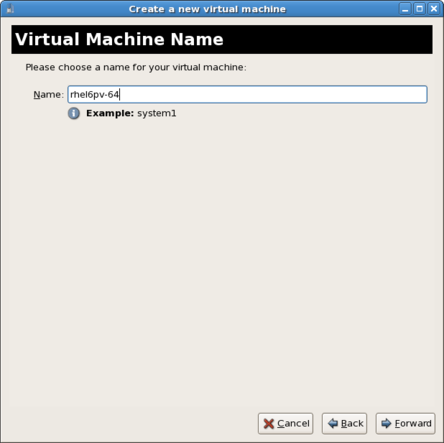 The second screen of the virtual machine creation wizard, prompting the user for a name for the new virtual machine.