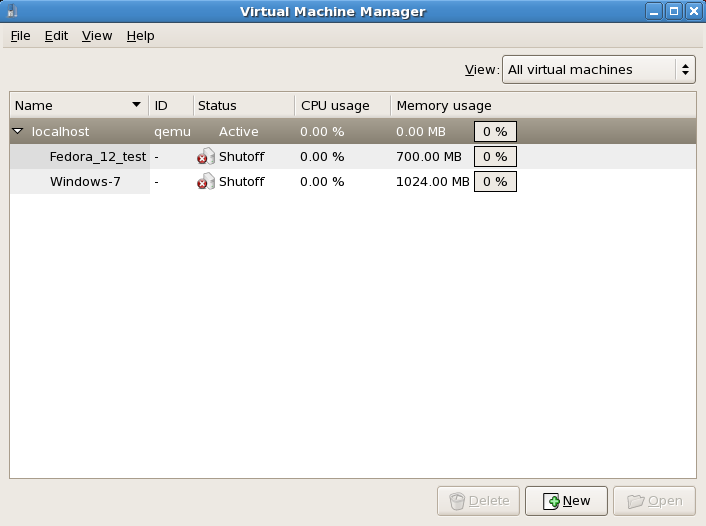 A restored virtual machine manager session
