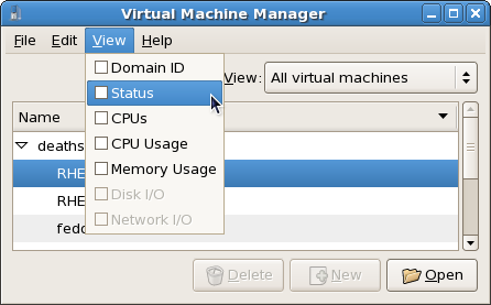 Selecting a virtual machine's status