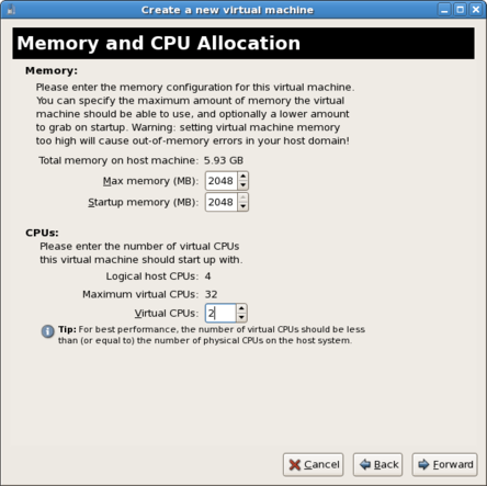The eighth screen of the virtual machine creation wizard provides options for setting memory and CPU allocation for the new virtual machine.