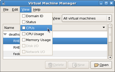 Selecting the virtual CPUs option