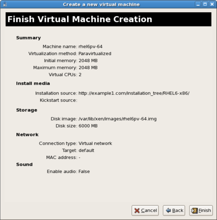 The ninth screen of the virtual machine creation wizard completes the setup and summarizes the settings for new virtual machine.