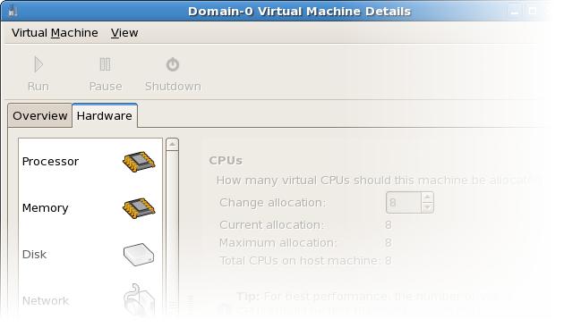 Detalles del hardware de la máquina virtual