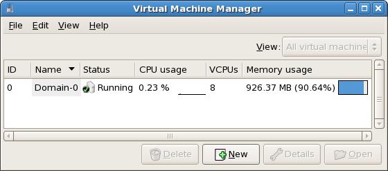 Virtual Machine Manager main window