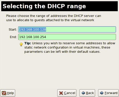 Selezione di una gamma DHCP