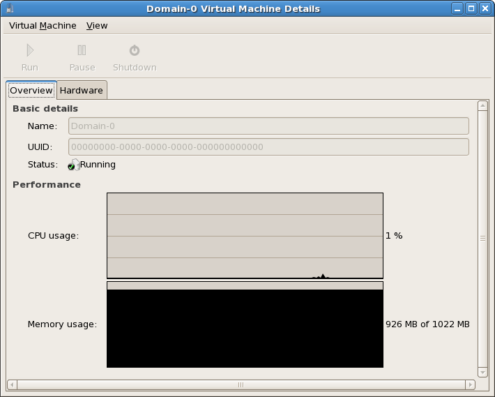 Virtual Machine Manager Details window