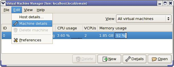 가상 장치 상세정보 메뉴 표시