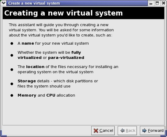 创建新虚拟系统的向导