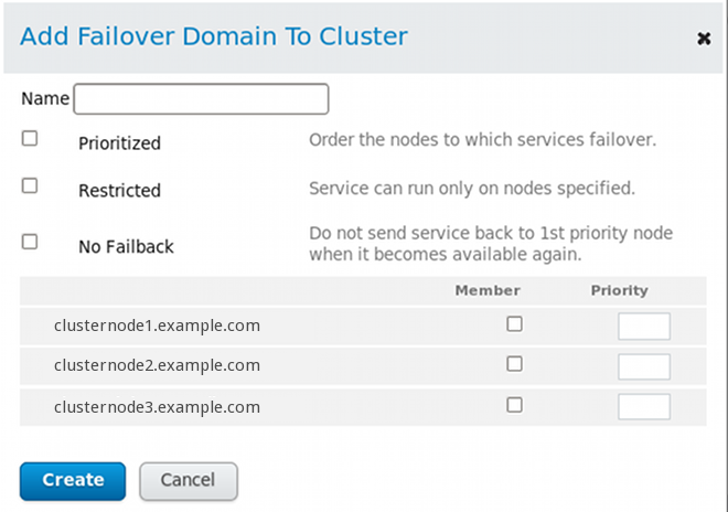 luci failover domain configuration dialog box