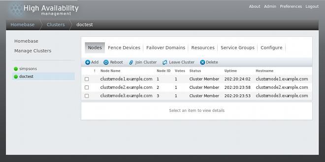Cluster node display